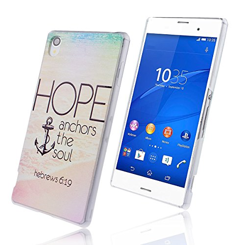 WeLoveCase für Sony Xperia Z3 PC Hard Case Backcover Schutzhülle Anchor The Soul Never Give Up Hope Pattern Hand Hülle Handy Case Tasche Cover für Sony Xperia Z3 (5.2 Zoll)