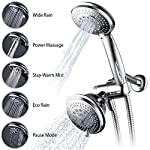 Hydroluxe Full-Chrome 24 Function Ultra-Luxury 3-way 2 in 1 Shower-Head /Handheld-Shower Combo