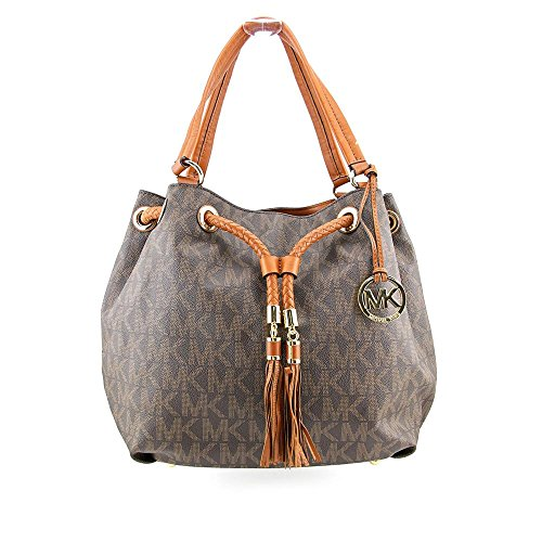 Michael Kors Jet Set Large Gathered MK Logo PVC Brown