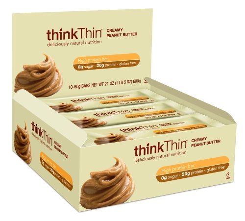 thinkThin Protein Bar, Creamy Peanut Butter, Gluten Free, 2.1-Ounce Bars (Pack of 10)