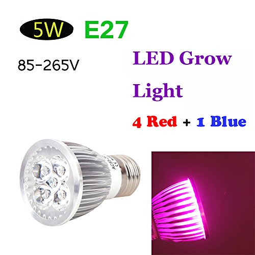 Kkmoon E27 5W Led Plant Grow Light Energy Saving 4 Red 1 Blue Hydroponic Lamp Bulb For Indoor Flower Plants Growth Vegetable Greenhouse 85-265V