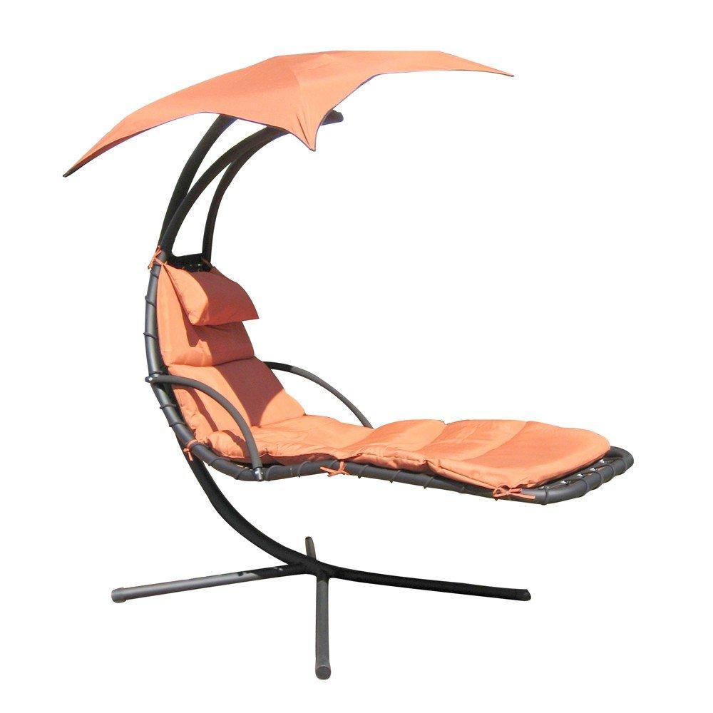 Leco Schwingliege Stahlrohr, inklusiv Sonnenschirm und Polsterauflage, Farbe terracotta günstig
