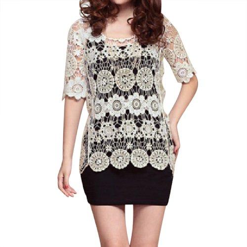 Little Hand Women'S Vintage Loose Batwing Hollow Crochet Tassels Lace Blouse Shirt front-871957