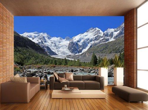 Selbstklebende Tapete Test : Morteratsch Gletscher Alpen KT236 Gr??e: 420x270cm Tapete Winter