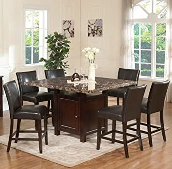 Furniture2go UFE-9201 Embassy 7pc Counter Height Dining Set - Dining Table with 6 Chairs - Wood, Assembly Required