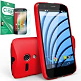 [FREE HD FILM] RINGKE SLIM® Moto G Case [CRIMSON RED][BETTER GRIP] VALUE COMBO DEAL Get A FREE Premium HD Clear Screen Protector + 1 Premium Hard Case SUPER SLIM + LF DUAL COATED + PERFECT FIT Premium Hard Case Cover for Google Motorola Moto G [ECO Pack
