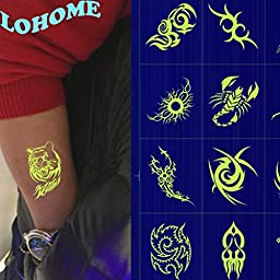 LOHOME® Luminous Tattoo, Pack of 5 PCS Waterproof Non-toxic Fluorescent Tattoo Stickers Body Makeup Art Shoulder Temporary Tattoos (B)