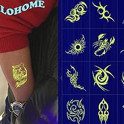 LOHOME® Luminous Tattoo, Pack of 5 PCS Waterproof Non-toxic Fluorescent Tattoo Stickers Body Makeup Art Shoulder Temporary Tattoos (B)