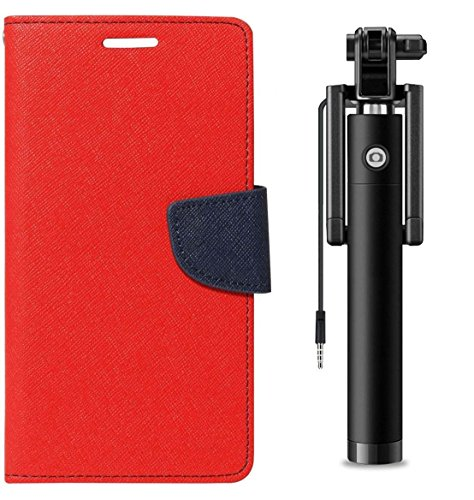 Uni Mobile Care Fancy Diary Wallet Flip Cover For Micromax A120Canvas 2 - Red + Next Gen Compact Selfie Stick Wired for iPhone and Android
