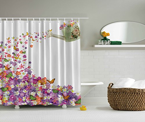 Ambesonne Pansy and Rose Butterfly Leaves Polyester Shower Curtain (Butterfly Shower Curtains compare prices)