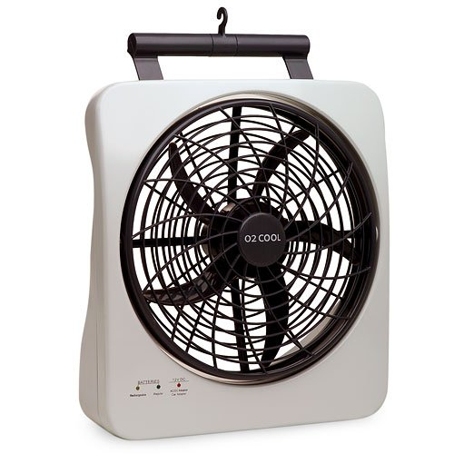 "2 Speed Pivoting Rechargeable 10"" Smart Power Fan, W/ Car Adapters Included"