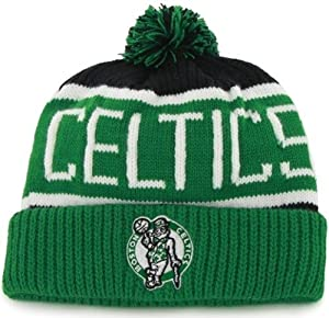 Boston Celtics Green Cuff Calgary Pom Beanie Cap - NBA Cuffed Knit Hat by Brand 47