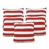 Zikrak Exim Straight Stripe Cushion Cover White & Red 5 Pcs Set 40 X 40 Cm