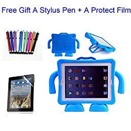 Qihang(TM) EVA Kids Light Weight Friendly Shock Proof Stand Case Cover for iPad 2 3 4 Generation(gift for a stylus pen+a protect film) (Blue)