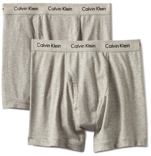 Calvin Klein Men's Stretch 2 Pack Boxer Brief, Grey Heather, X-Large