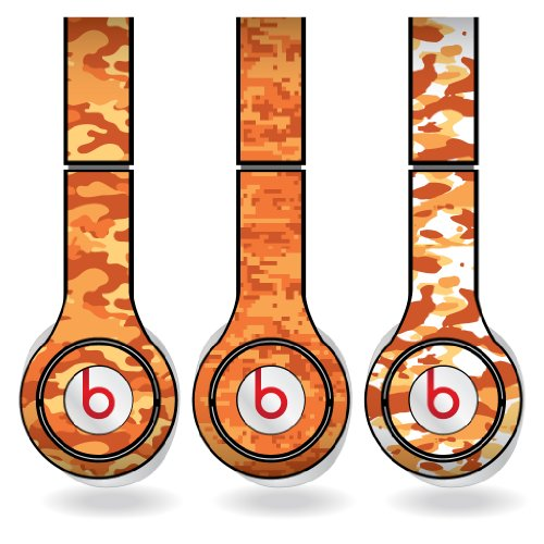 Orange Military Camouflage Print Set Of 3 Headphone Skins For Beats Solo Hd Headphones - Removable Vinyl Decal!