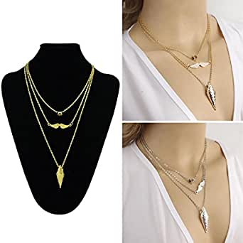 DDLBiz Women Charm Jewelry Multilayer Choker Wing Bib Pendant Chain Necklace