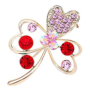 Pugster 22K Golden Plated October Birthstone Butterfly Shaped Flower Rose Pink Swarovski Crystal Diamond Accent Brooches And Pins