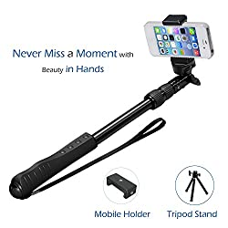F-EYE® Bluetooth Selfie Monopod Selfie Stick, Integrated New Design Self-portrait Extendable Wireless Selfie With Tripod Stand and Adjustable Mobile Holder For iPhone & Android Smartphones