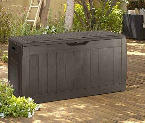 Keter Sherwood Plastic Deck Storage Container Box Outdoor Patio Furniture 71 Gallon, Brown