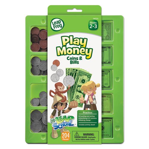 LeapFrog LeapSchool Play Money Coins and Bills Tray, 204 Pieces, Assorted Colors (19472) - 1