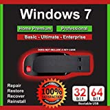 9th & Vine USB Compatible With Windows 7 32-64 bit All Versions Professional, Home Premium, Ultimate, Basic. Install To Factory Fresh, Recover, Repair and Restore Boot Disc. Fix PC (Color: Black)