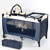 TecTake Cuna infantil de viaje de altura ajustable con acolchado para bebé azul