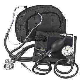 Veridian 02-12101 Fanny Pack Adjustable Aneroid Sphygmomanometer with Sprague Stethoscope Kit, Adult, Black