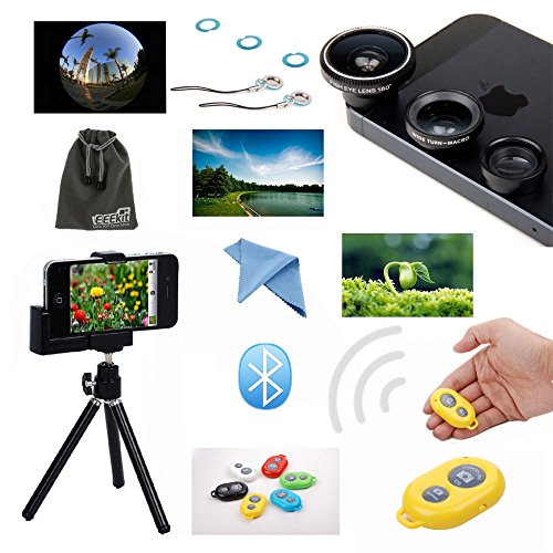 Eeekit Photo Shooting Kit For Iphone 5 5C 5S 4S, Retractable Universal Mini Tripod Stand Camera Holder Mount + Wireless Bluetooth Remote Control Camera Shutter Release + Fish Eye Lens + Wide Angle + Macro Lens + Lens Cleaning Cloth + Eeekit Storage Pouch