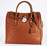 Michael Kors Hamilton NS Woven Tote Luggage Leather