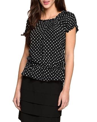 Comma Damen Bluse Regular Fit, gepunktet 85.899.12.0924 BLUSE KURZARM, Gr. 34, Mehrfarbig (99M9 grey/black dots)