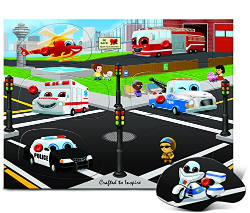 Puzzled Rescue Vehicles Wooden Peg Puzzle (9 Piece)
