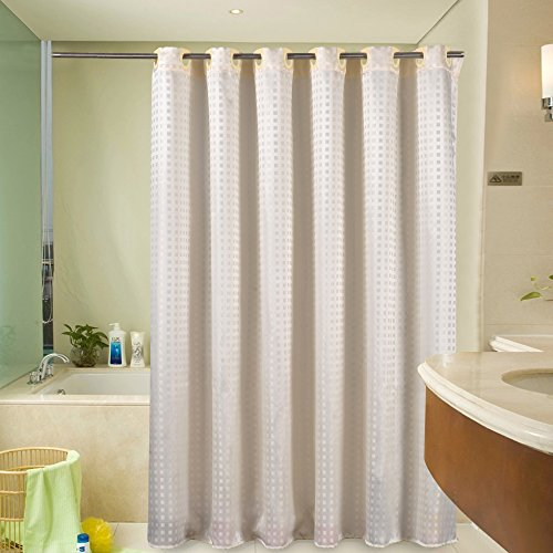 Sfoothome Light Yellow Pattern Mildew Proof And Waterproof Polyester Fabric Macrocyclic Hookless Shower Curtain With