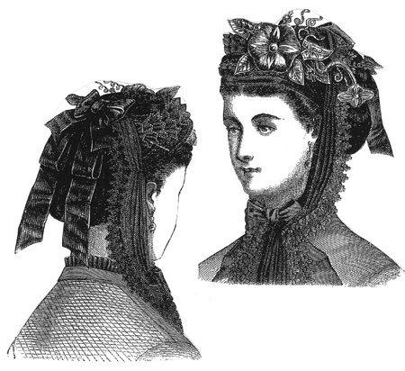 [1870 Black Velvet Bonnet with Red Flowers] (Black Costumes Bonnet)