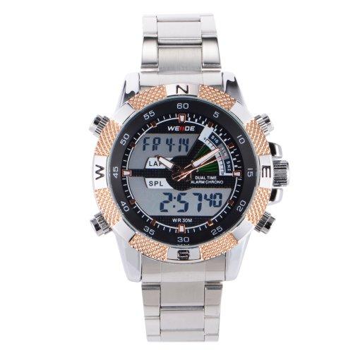 Luxues Stainless Steel Digital Stopwatch Alarm Function Sport Quartz Wristwatch + Gift Box