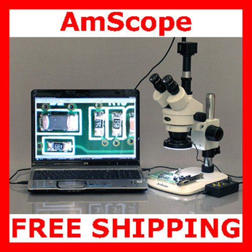 8 MP Camera 4-Zone 144-LED Stereo Microscope 3.5x-90x