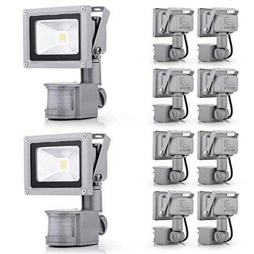 Generic 10Pcs 10W Induction Lamp Cool White New Led Pir Motion Sensor Flood Light Ip65 110V
