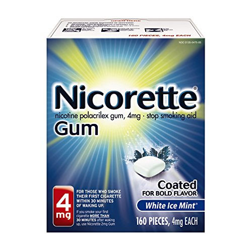 Nicorette Nicotine Gum White Ice Mint 4 milligram Stop Smoking Aid 160 count