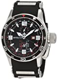 Invicta 1756 Men's Aviator Flight Black Polyurethane Strap Black Dial GMT Watch