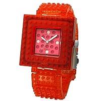 [ナノブロック]nanoblock デコレーション腕時計 デコって遊べるリストウォッチ チェンジベゼル チェンジベルト おまけブロック付 クリアレッド×ピンク NAW-3410PW