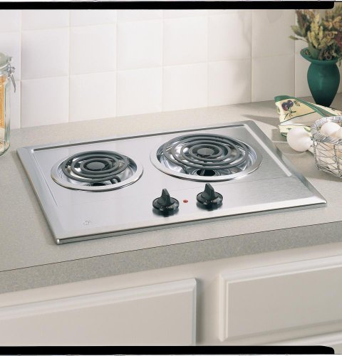 GE : JP201CBSS 21in Electric Cooktop, 2 Coil Elements, Removable Drip Bowls - Stainless Steel (Ge Jp201cbss compare prices)