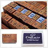 1 Set of 70pcs Vintage Style Wooden Rubber Alphabet Letters Number Stamps + 1 Dark Blue Ink Pad