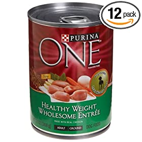 Purina One Healthy Weight Wholesome Entrée Dog Food, 13-Ounce Cans (Pack of 12)