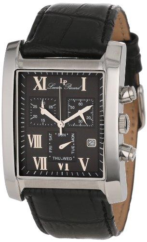 Lucien Piccard Men's 98041-01 Classico Chronograph Black Dial Black Leather Watch