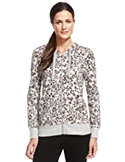 M&S Collection Cotton Rich Zip Through Animal Print Hooded Top