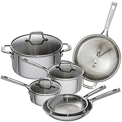 Emeril Lagasse 62850 10 Piece Tri-Ply Stainless Steel Cookware Set, Silver