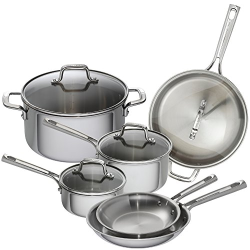 Emeril Lagasse 62850 10 Piece Tri-Ply Stainless Steel Cookware Set, Silver (Lagasse Cookware compare prices)