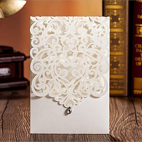 Doris Home 100pcs Vertical Ivory Classic Style Wedding Invitations Cards Custom with Rhinestone & Laser Cut Flower