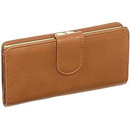 Mundi Women\'s Leather Suburban Rio Clutch Checkbook Wallet (Tan w/Gold Hardware)
