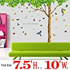 Green-decals® 7.4'(H) X 9.7'(W) Huge Fresh Green Leaf Wall Stickers with Butterflies Wall Decals and Removable Wall Décor Decorative Painting Supplies for Living Room Bedroom